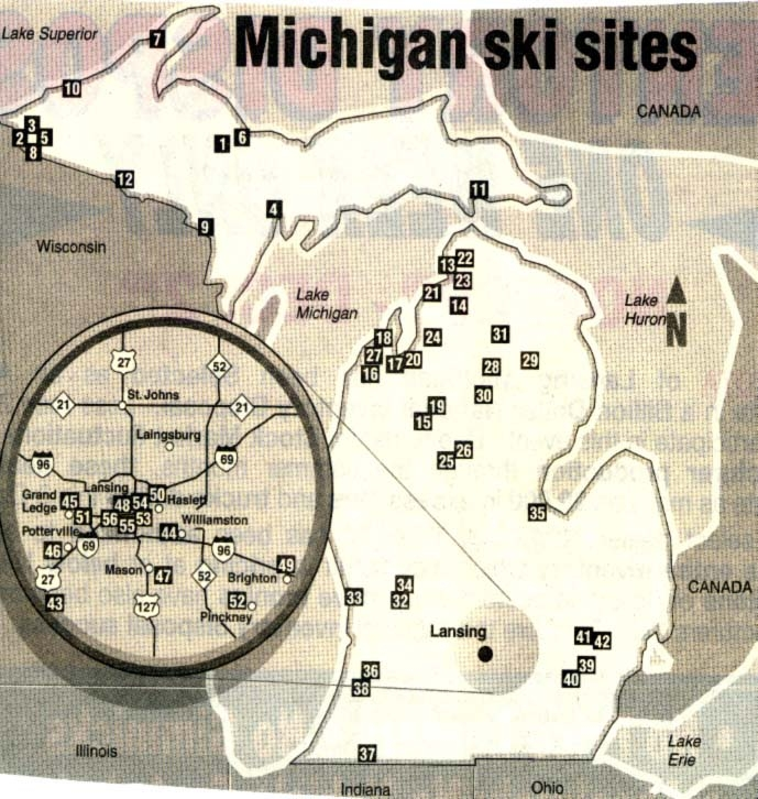 Ski In Michigan Map.Skiing And Snowboarding